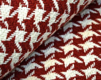 White and Red Jacquard Upholstery Fabric by the Yard