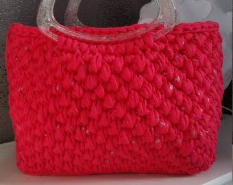 Handbag red with silver stripes