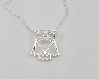 Owl Necklace, Geometric Owl Necklace, Origami Owl, Silver Owl, Owl Jewelry, Geometric Animals