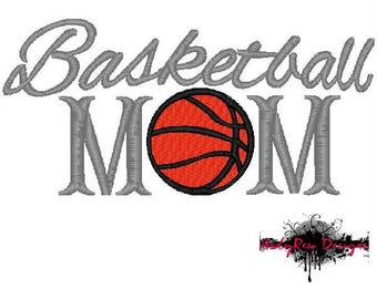Basketball Mom machine embroidery design - basketball fill stitch - 3 sizes
