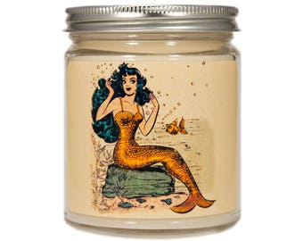 Mermaid Soy Candle, Beach Candle, Scented Candle, Container Candle, Soy Candle, Mermaid Gift, Mermaid Decor, Beach Decor,  Candle Gift