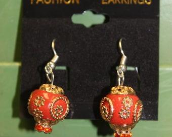 Orange & Gold Earrings