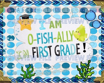 Ofishally in First Grade-End of School Year-Photo Prop Sign-Kid's Digital Download-Last Day of Kindergarten Announcement-Scrapbook Photo