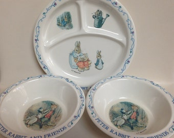 Vintage Peter Rabbit and Friends Divided Plate and 2 Bowls