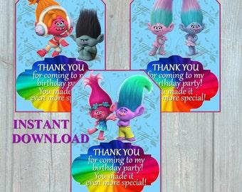 Trolls Thank You Card - Trolls Birthday Party Printable