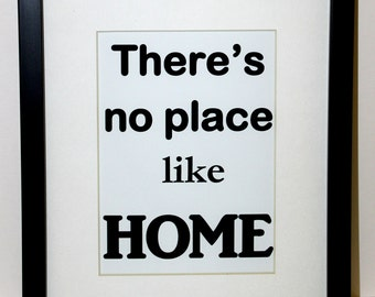 There's no place like Home 8x10 With Mat and with Frame Ready to hang on the wall.