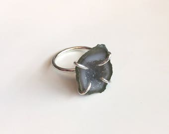 Mini Geode Ring | Sterling Silver Ring | Geode Ring | Gemstone Ring | Size 5.25