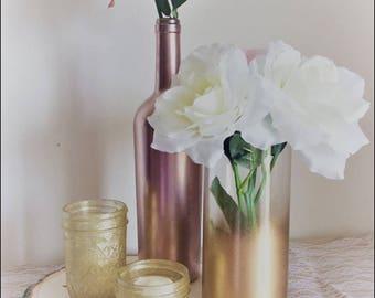 Set of 4 Wedding Centerpieces, Wedding Decor, Tea Lights, Wine Bottle Decor (1 Set)