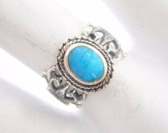 Turquoise Ring, Sterling Ring, Native American Ring, Silver Ring, Vintage Sterling Silver Southwestern Oval Turquoise Ring Sz 6.5 #3014