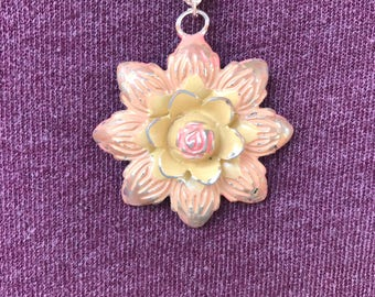 Pink/peach flower multi chain necklace