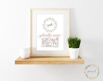 Birth Announcement, 8x10 Print, Nursery Wall Art, Baby Girl, Personalized