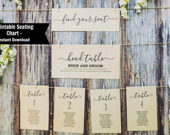 Editable Table Seating Chart Template, Printable Wedding Table Numbers, Instant Download, DIY Wedding PDFs