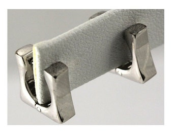 Rhodium Plated Sterling Silver Huggie Earring #OZE-8