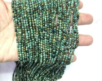 African Turquoise 3mm 2mm Faceted Beads Tiny Turquoise Beads Small Blue Beads Tiny Green Gemstone Beads Turquoise Tiny Spacer Beads