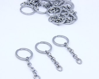 Key Ring With Extender Chain Split Keychain Ring Keychain Clasp Flat Split Key Ring Key Holder Keychain Supplies Keychain Accessories