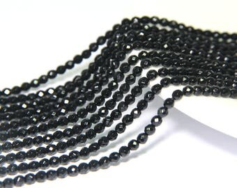 Black Onyx Faceted Beads 2mm 3mm 4mm Black Agate Faceted Beads,Natural Black Beads,Black Tiny Beads Small Spacer Beads,Black Gemstone Beads