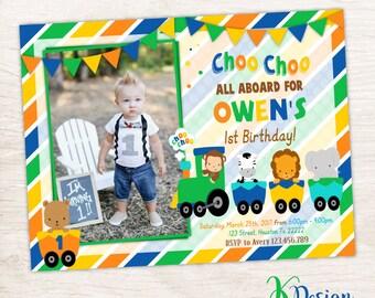 Choo Choo Train Birthday Invitation,  Boys Birthday Invitation