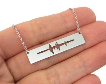 Custom Sound Necklace, Silver Sound Wave Necklace, Waveform Necklace, I Do Necklace, Soundwave Jewelry, Custom Heartbeat Necklace