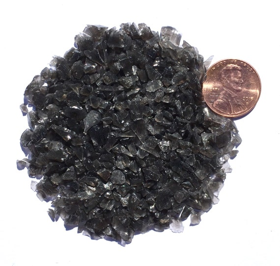 Crushed Gemstone For Inlays : Crushed black obsidian stone inlay coarse ounce