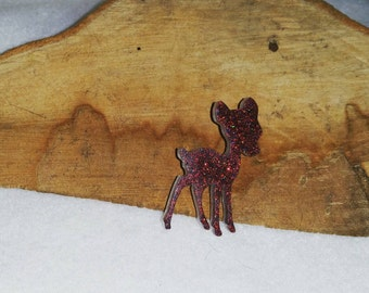 Cherry Red Sparkle Deer Brooch on Butterfly Clasp