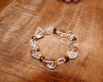 Clear Crystal with Gold Accent Stretch Bracelet
