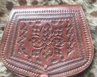 Leather horseshoe satchel