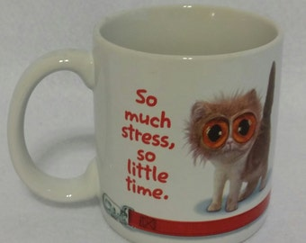 """American Greetings Stress Cat Coffee Mug """"So Much Stress So Little Time"""""""