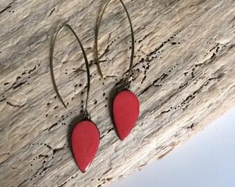 Earrings, pending, drop, red, ceramic
