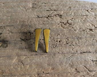 Stud Earrings, yellow, triangle, geometric, ceramic, ceramic