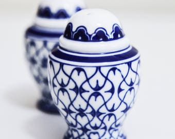 Set of Blue and White Porcelain Salt and Pepper Shakers