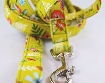 Olive Floral Cotton Dog Leash; Flower Dog Leash; Spring Dog Leash; Fabric Dog Leash; Green Dog Leash