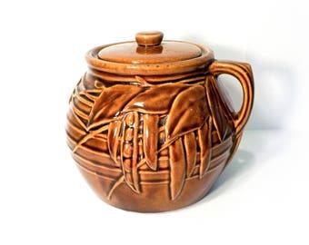 Brown Peapod Handle Bean Pot, Cookie Jar by BigMuddyVintageShop