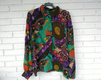 ETHNIC shirt / / sleeve long, colorful, 80s 90s / / vintage / / gift for women / / unisex / / print / /
