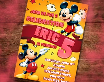 Mickey Mouse Invitation Card, Kids Invitation Card, Birthday, Party Card