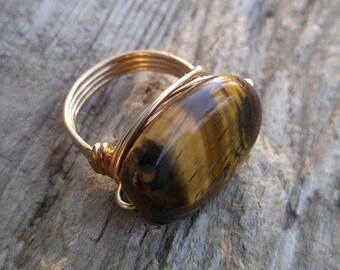 Tigers Eye Gold Ring