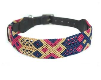 Harmonic Tan Dog Collar - Pink/Khaki/Navy