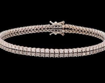 18k White gold thin 1.95 ct Natural Diamonds Classic Tennis Bracelet, Diamond Bracelet