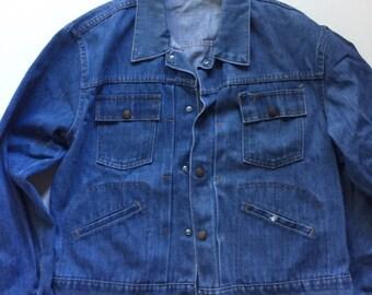 Vintage Denim Jacket Montgomery Ward 1950s Denim jacket pleated front red line size Medium