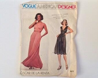 RARE 1970s Oscar de la Renta Designer Dress Sewing Pattern B34 : Vogue American Designer Oscar de la Renta 1477