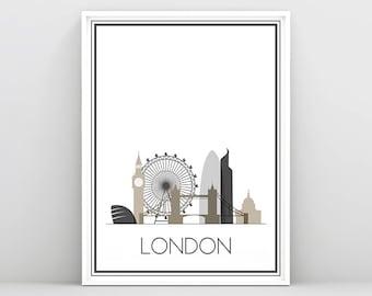 London, London Poster, London Print, London Wall Art, Skyline Wall Art, Home Decor, Travel Print, City Poster, Printable Art, Typography Art
