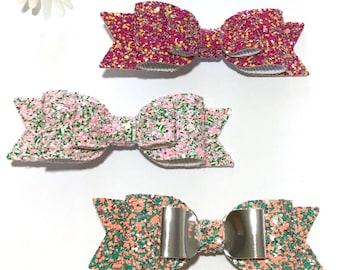 Glitter hair bows, hair clips, bow headbands, glitter fabric, baby headbands