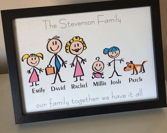 personalised family character frames