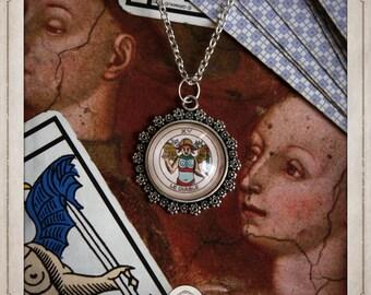 TAROT card the DEVIL necklace silver glass pendant 20mm, divinatory tarot of Marseilles, clairvoyance, arcane, Blade, chance COC016