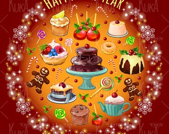 Pattern with sweets and pastries, digital clip art. Instant Download.