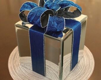 8 inch - Holiday Decor Mirror Box Dark Royal Blue Crush Velvet Ribbon