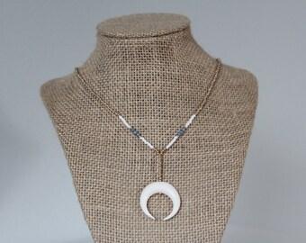 Blue Bead & Crescent Moon Drop Necklace