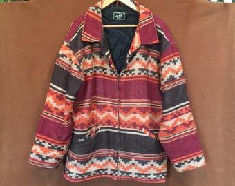 Vintage Native American Print Wool Coat