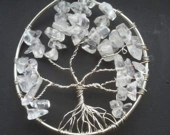 Silver Tree Pendant w/ glass beads