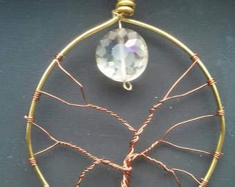 Tree & Moon Pendant bronze/ gold wire