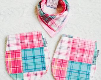 baby girl square bib and burp cloth, pink plaid bib and burp cloth, baby shower gift set